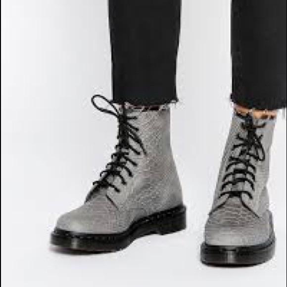 Dr. Martens Shoes   Grey Snake Skin Dr